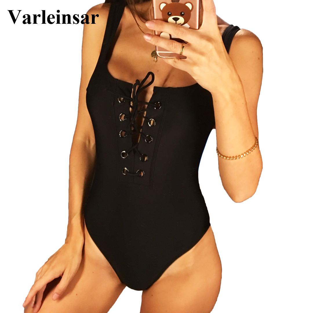 2018 Black White Red Lace Up Scoop Back Women Swimwear One Piece Swimsuit Female Bather Bathing Suit Swim Backless Monokini V195