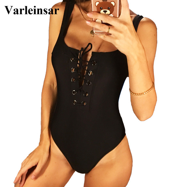 4db8d9a96d8bb 2019 Black White Red Lace Up Scoop Back Women Swimwear One Piece Swimsuit  Female Bather Bathing Suit Swim Backless Monokini V195