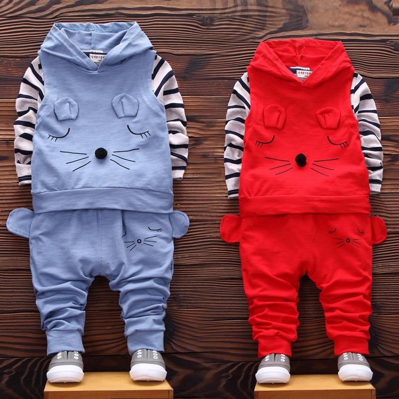 **HIGH QUALITY**2016 Autumn Children Cute boy girl kids cotton Cartoon Hoody & T shirt & Pants 3 pieces clothing set 2-5 years