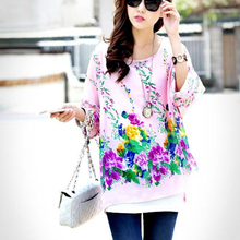 022d78ed7cb AMMINADY women summer tops plus size chiffon shirts flower print batwing  sleeved