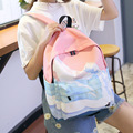 Korean Style New Women Scenery Series of Embroidery Printing Backpack College Style Canvas Bags Zipper Pattern Backpacks