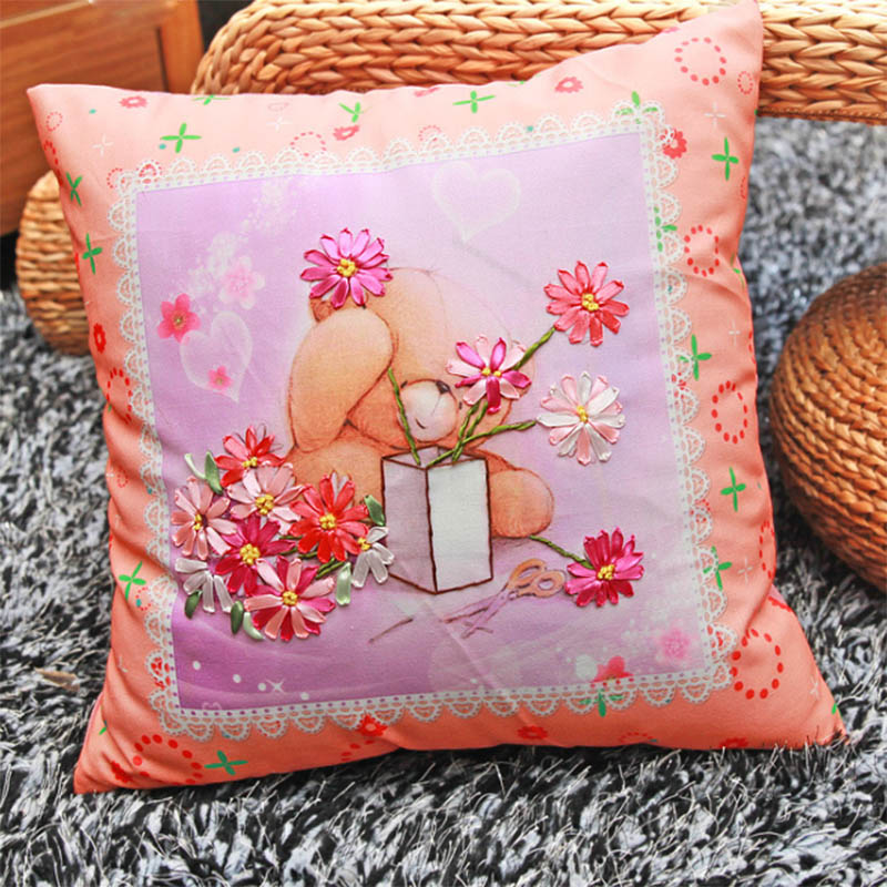 Lovely bear ribbon embroidery kit toolkit cushion covers