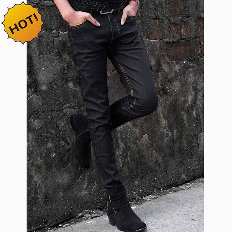 NEW 2019 indoor Men Thin Elastic Solid black Jeans Men 39 s Jeans Male Skinny Stretch Black Teenager Hip Hop Denim Jeans Homme in Jeans from Men 39 s Clothing