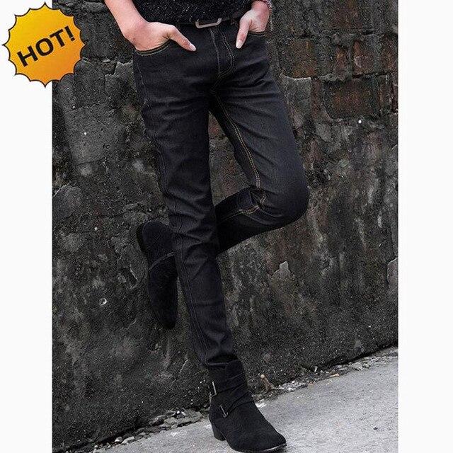 ed77214f2b NEW 2019 indoor Men Thin Elastic Solid black Jeans Men s Jeans Male Skinny  Stretch Black Teenager Hip Hop Denim Jeans Homme