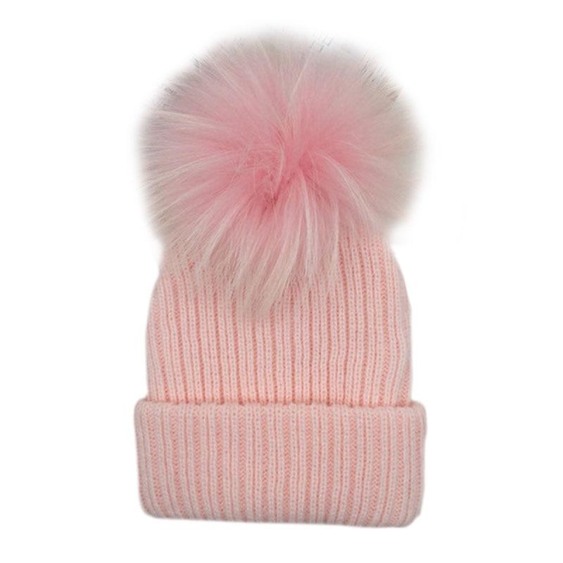 Winter Hat For Kids 2018 Knit Beanie Winter Baby Hat For Children Fur Pom Pom Hats For Girls Boys