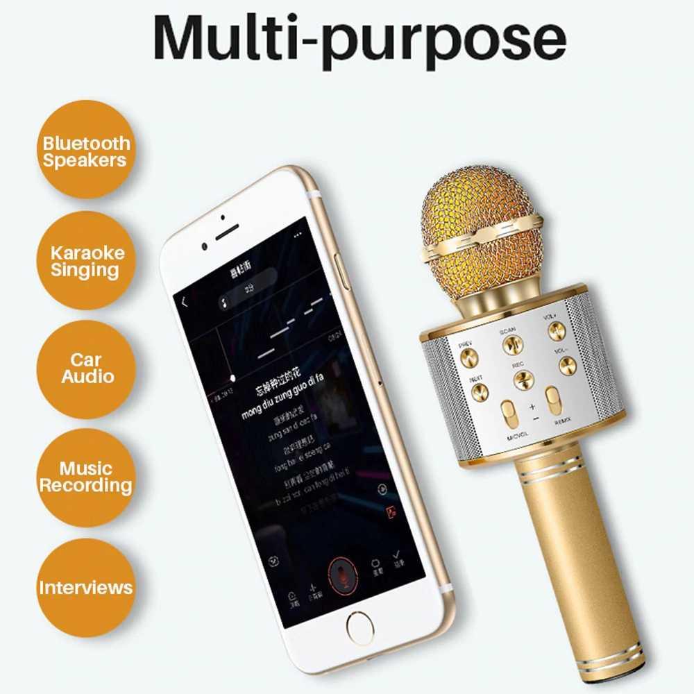 Profesyonel Bluetooth kablosuz mikrofon karaoke hoparlörü KTV müzik çalar şarkı kaydedici el mikrofonu mikrofon 1800Mah