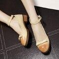 Correa de Tobillo de Las Señoras de la vendimia Mori Chica Lolita Zapatos de Tacón Cuadrado Medio Albaricoque/Gris