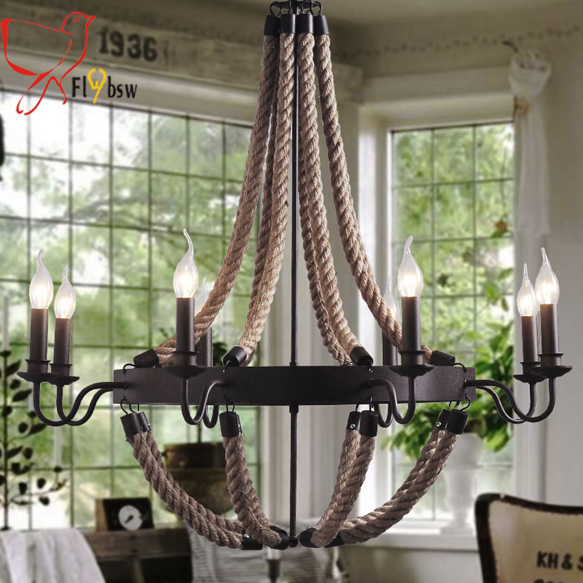 6/8 heads American countryside Wrought Iron Creativity pendant lamps Coffee Bar Dining Room hand knitting hemp Rope Chandelier american style pendant lights personalized artistic creativity restaurant bar hemp rope pendant light antique dining room set
