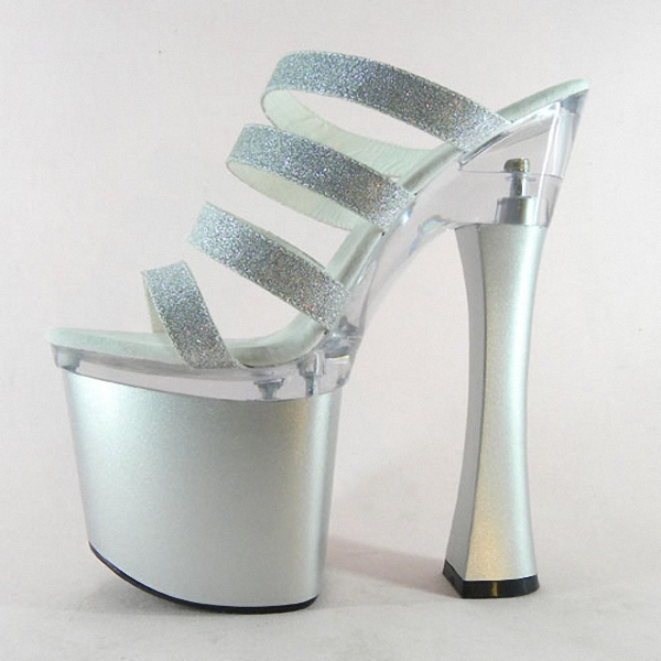 Sexy Glitter 18cm Ultra High Heels Sandals Fashion 7 Inch Platforms Shoes Spool Heel Dance Shoes Party Slippers 20cm neon green heels sexy women sexy clubbing dance shoes platforms shoes 8 inch high heel shoes star exotic shoes