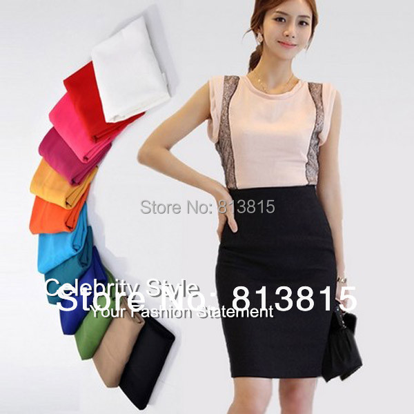 SK48 2014 New Women Ladies High Waist Pencil Skirts Summer Business Skirt Plus Size S/M/L/XL OL Formal Skirts Free Drop Shipping
