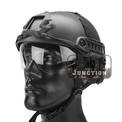 Emerson Tactical Airsoft Fast Helmet MICH Ballistic MH Type Lightweight OPS Helmet w/ Flip Down Visor NVG Shroud + Side Rail militech coyote brown cb color aluminum shroud marsoc warcom night vision 3 holes goggle mount base nvg ops core skeleton shroud