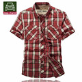AFS JEEP Chariot Loose Cotton Short Sleeve For Man 2016,Red Green Plaid Leisure Cargo Man's Cardigan Outwear Summer De bolsillo