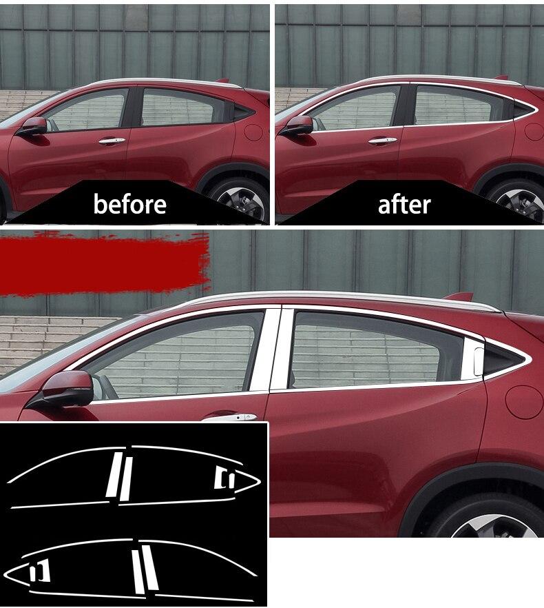 Extérieur en acier inoxydable Fenêtre Seuil Couvercle Garnitures accessoires de voiture pour honda hrv honda vezel 2015 2016 2017 2018 Voiture Style