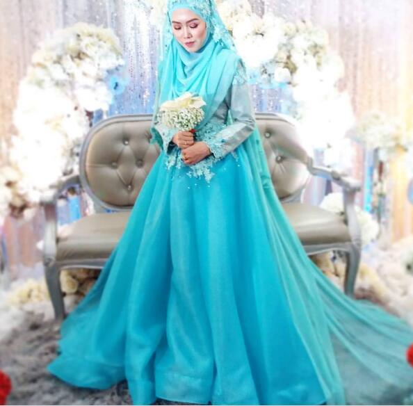 Vestidos De Noiva Wedding Dress Muslim font b Hijab b font Wedding Gowns 2017 Turquoise Blue