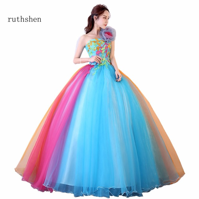 398f27b5afe ruthshen Romantic 2018 Colorful Organza Ball Gown One Shoulder Quinceanera  Dresses Beautiful Party Flowers Dresses Vestidos