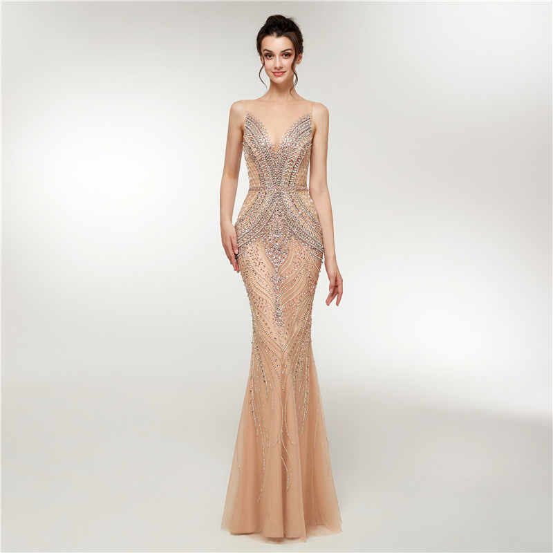 b49a28c40 ... Luxury Mermaid Evening Dresses Long 2018 New Heavy Crystals Beaded  Arabic Elegant Woman Formal Party Gowns ...