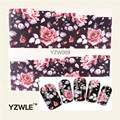 YZWLE 1 Folha Chic Flor Nail Art Decalques Transferência de Água Stickers Decalques de Água Esplêndido Adesivo (YZW-009)