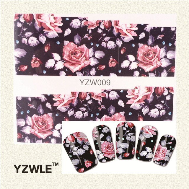 YZWLE 1 Sheet Chic Flower Nail Art Water Decals Transfer Stickers Splendid Water Decals Sticker(YZW-009)