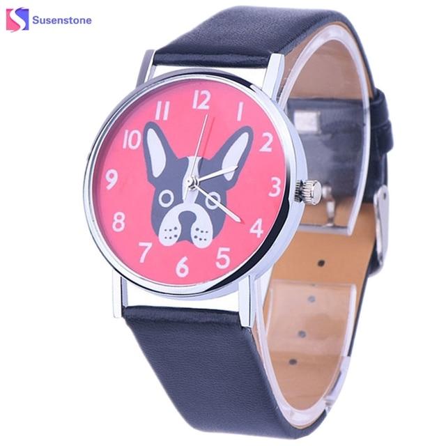 Men Women Watches 2018 Cute Dog Pattern Analog Quartz Watch PU Leather Wristwatc