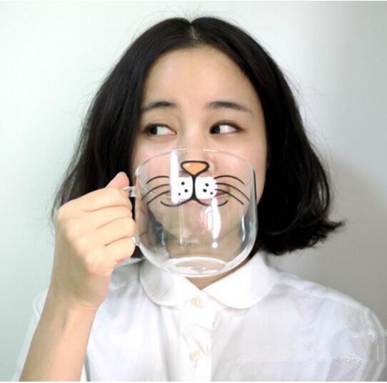 Novelty Glass Cat Face Breakfast Mug
