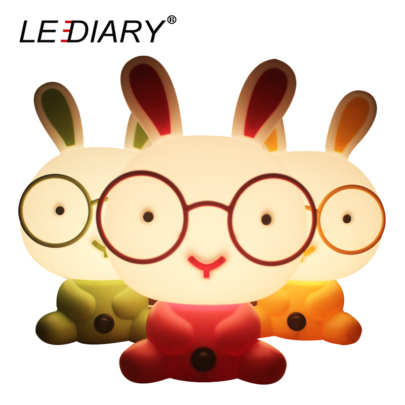 LEDIARY Cartoon Rabbit Dog Bear Panda LED Desk Table Lamp 110V-220V 4W E14 Bulbs Cute Animal Night Light Baby Bedside Lights цена