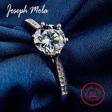 Joseph Mola Real 925 Sterling Silver Rings Round Gemstone 1CT Cubic Zirconia Crystal Resizable Ring Wedding Fine Jewelry Gift цена в Москве и Питере