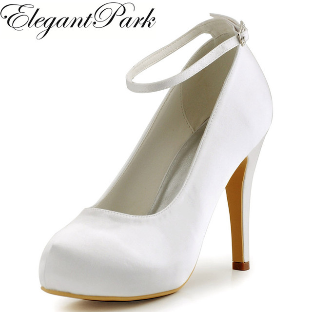 Women Ivory Wedding High Heel Shoes Platform Ankle Strap Pumps Satin Bride  Prom Dress Evening Wedding Bridal Shoes EP11049 Black 8e172ec85872