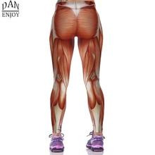 DANENJOY 2019 Yoga Pants Women 3D Human Muscle Print Sport Fitness Leggings Running Pants Tight Women Mujer Sportswear Yoga