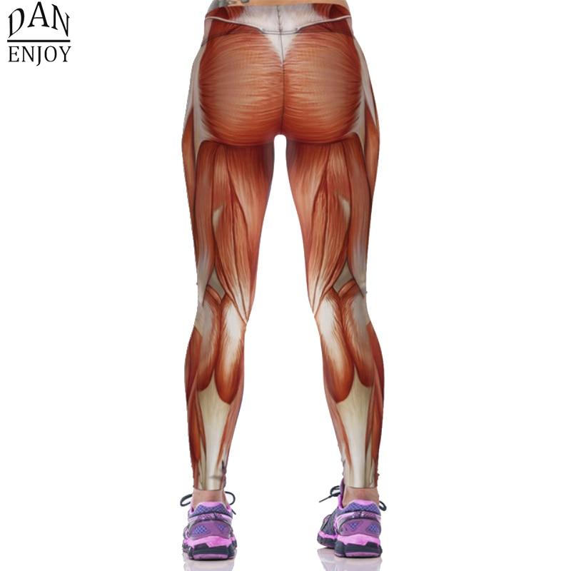 DANENJOY 2019 Pantalones de yoga Mujeres 3D Musculos humanos Sport - Ropa deportiva y accesorios