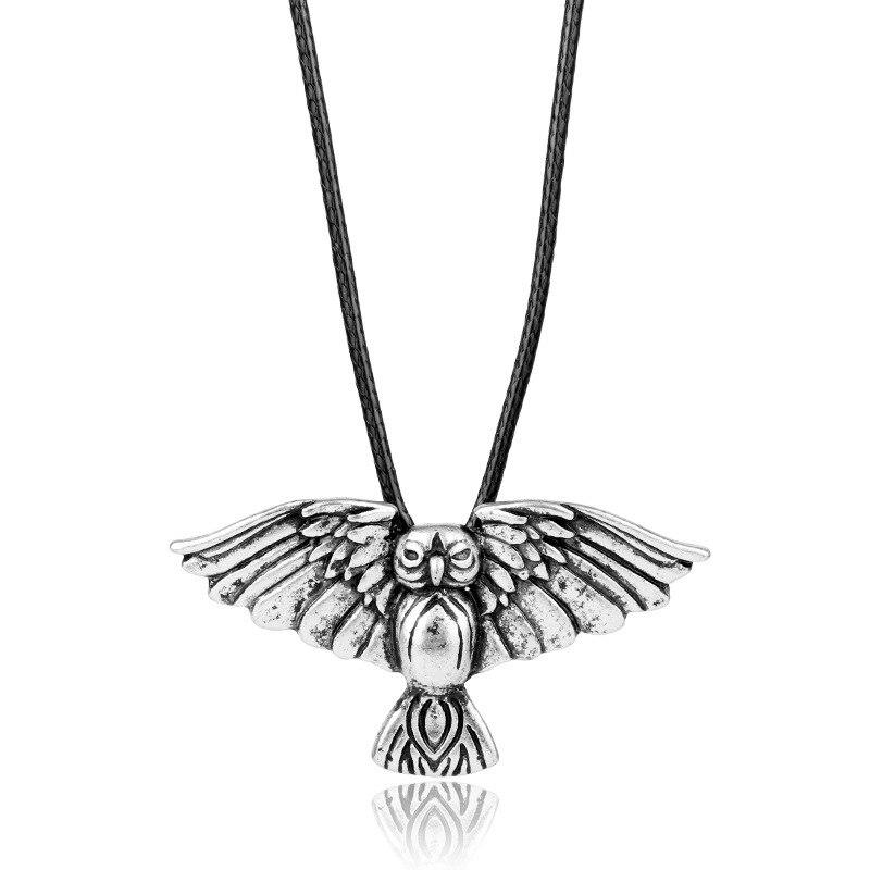 10pcslot Nordic Owl Viking Pendant Necklace Norse Viking Amulet Medieval Jewelry line art