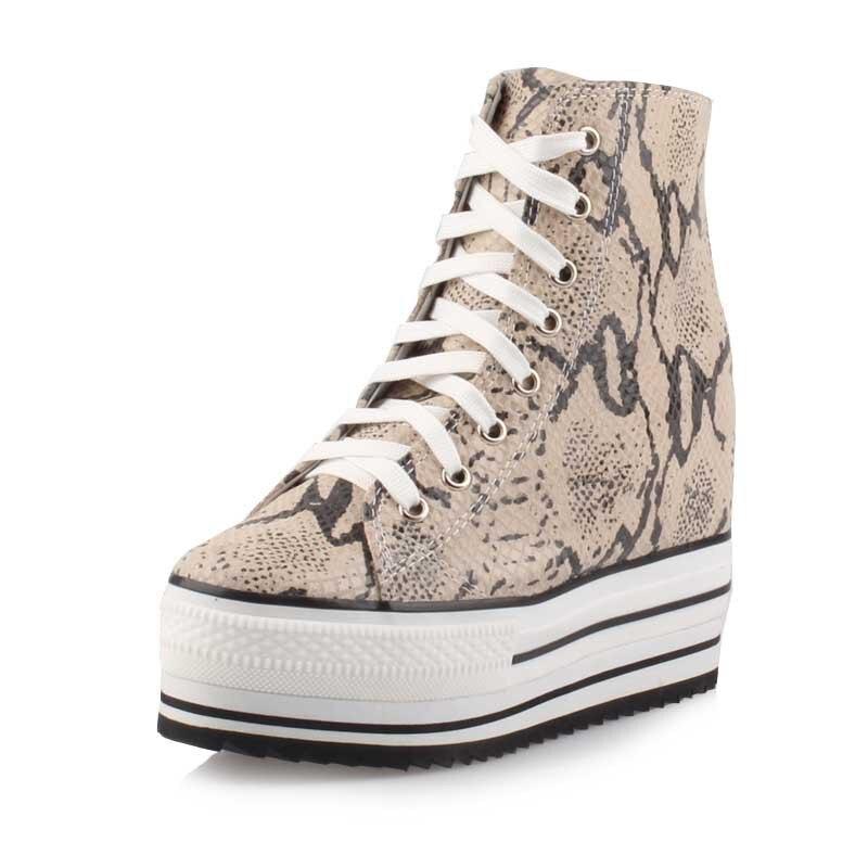 Serpent Cuir Leopard Casual gold Plate Chaussures Coins Mode Épais Ascenseur Imprimé Véritable Croissante snakes Femmes Dentelle forme En 2017 up Fond Hauteur nnPxR8