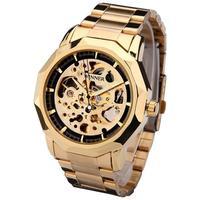 Golden Watches Men Skeleton Mechanical Watch Stainless Steel Top Brands Luxury Man Watch Montre Homme Wristwatch