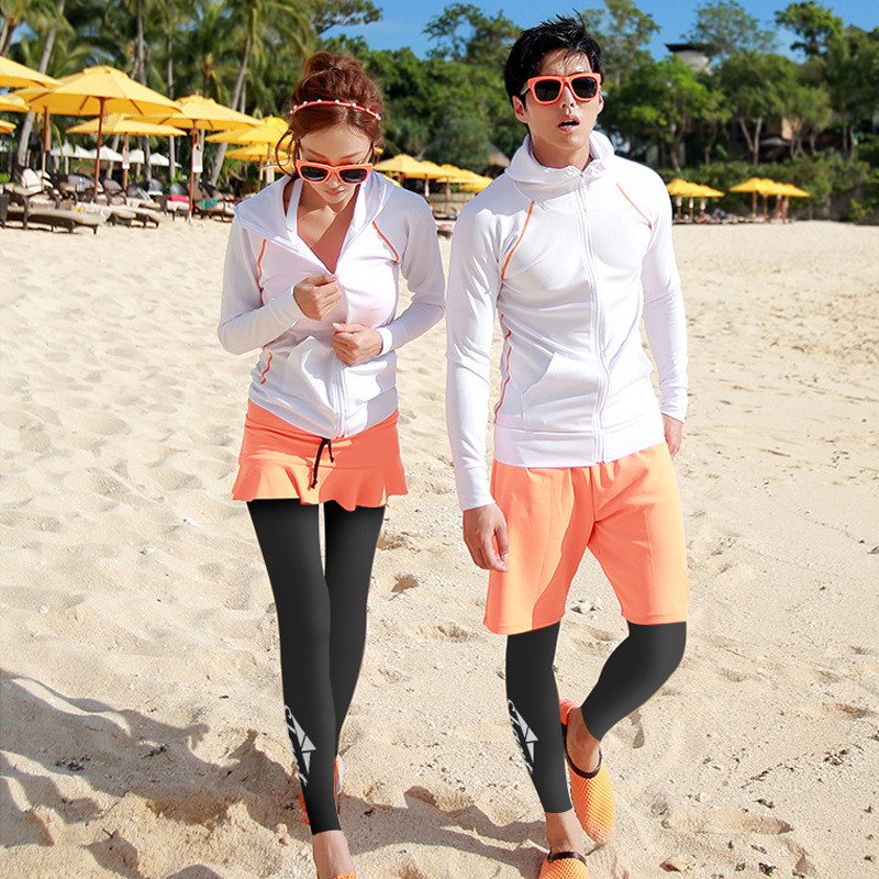 Matching Couples Upf 50+ Longs Sleeve Zip UP Rash Guard set of 4 piece Sun UV Rashguard Swim Shirt Leggings Trunks Men Women