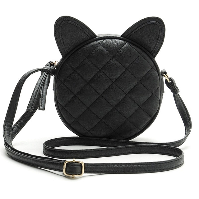 Good Quality Leather Mini Women Messenger Bag Circle Crossbody Bags Cat Ear Shoulder Bag New Style Women Handbag Round Purses