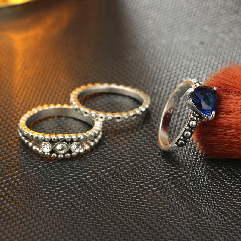 Ретро опал кольцо руки набор Античное золото Цвет резные цветок костяшки Midi Кольца красный камень mujuer Панк ювелирные изделия