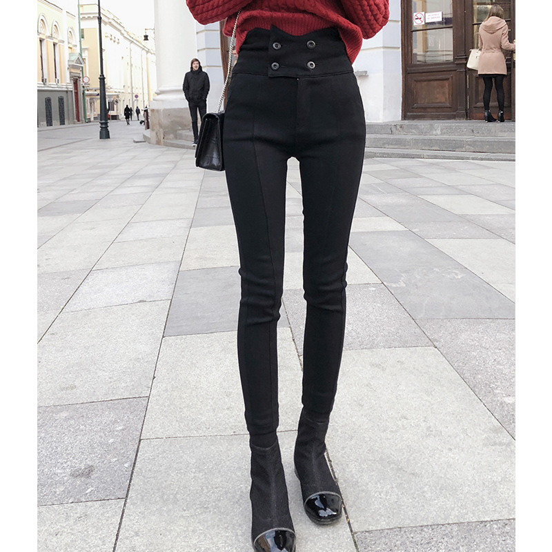 Mishow 2019 New Fashion Spring Women Demin Trousers Pencil Pants High Waist Slim Casual Black Jeans MX18D2559