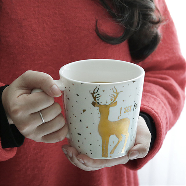 Milu Coffee Mugs Cute Animal Milk Tea Cup Christmas Gifts Gold Couples Cup Office Morning Water Cups Handgrip Xmas Gift-in Mugs from Home & Garden on ...