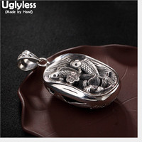 Uglyless Real 925 Sterling Silver Handmade Fishes Pendants Necklaces NO Chains Thai Silver Square Pendant Ethnic Hollow Jewelry