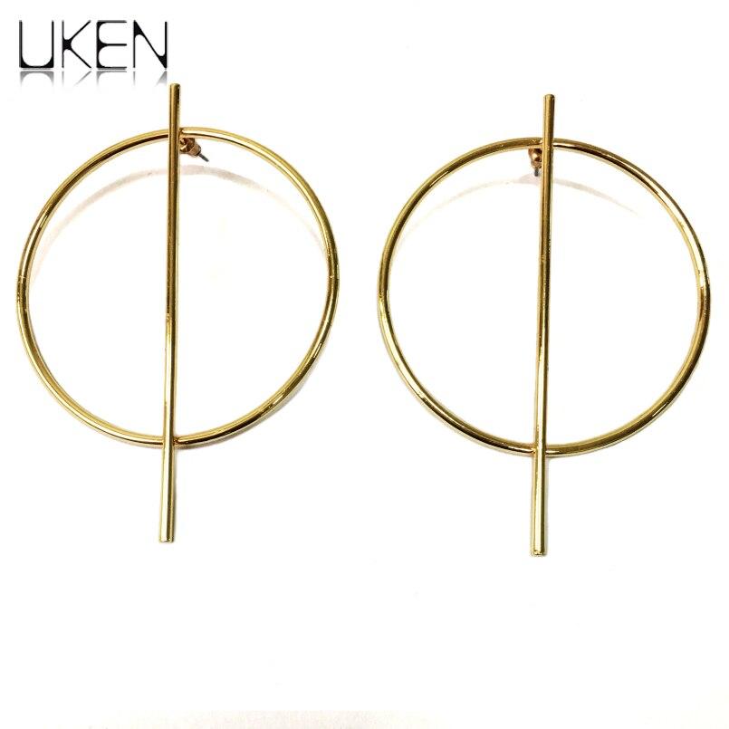 UKEN Fashion T Show 90mm Alloy Big Earrings Statement Jewelry Punk Stud Earrings For Women Brincos 2018 Accessories