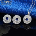 Fashion Women Blue Sapphire jewellery Gorgeous Round Cubic Zirconia Created Diamond Pendant Necklace Earrings Jewelry Set T090