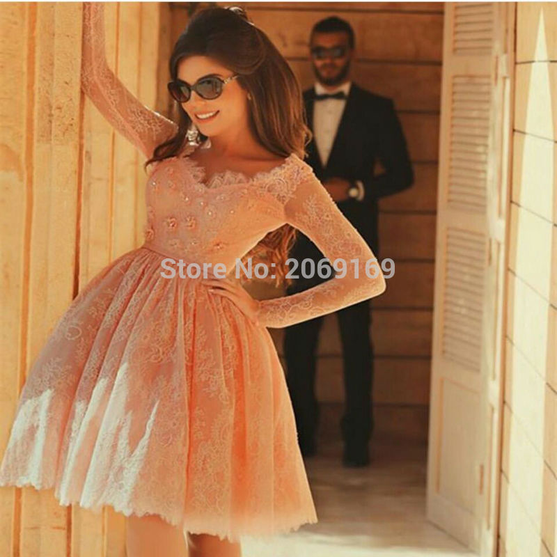 Long-Sleeve-Short-Homecoming-Dress-Lace-Beads-Illusion-2017-Formal-Gowns-Short-Party-Pageant-Dresses-Ball