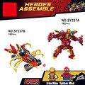 Marvel Super heroes кирпичи Железа мех и удивительный человек-паук Ironman Паук Колесница строительный блок кирпичи legoe игрушки