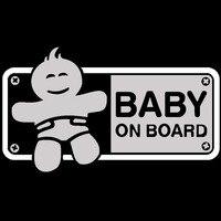 black silver 18CMX10.4CM BABY ON BOARD Friendly Tips Cartoon Car Body Trunk Sticker Vinyl Decal Black/Silver (2)