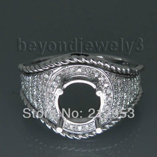 Antique Unique Design Round 7mm 14kt White Gold Semi Mounting Engagement Ring WU002