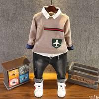 Neue frühling Kinder Baby kinder Jungen casual Flugzeug Muster stricken Pullover + langarm-shirt + Jean Hosen 3 stücke Kleidung Set Y2852