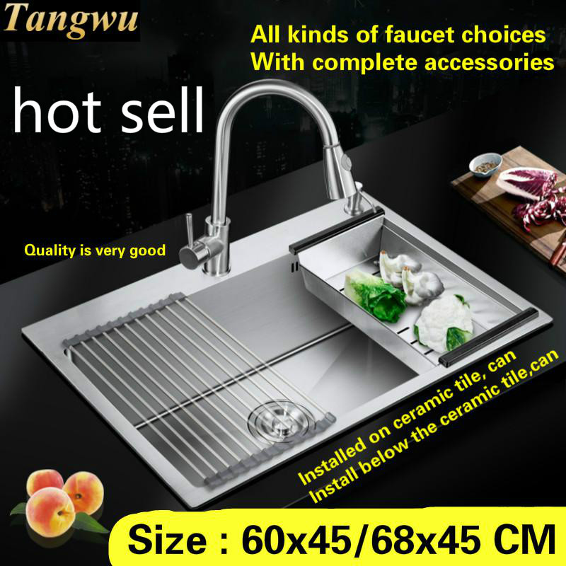 Free Shipping Apartment Big Kitchen Sink Food Grade 304 Stainless Steel Handmade Mini Single Slot Thick Durable 60x45/68x45 CM