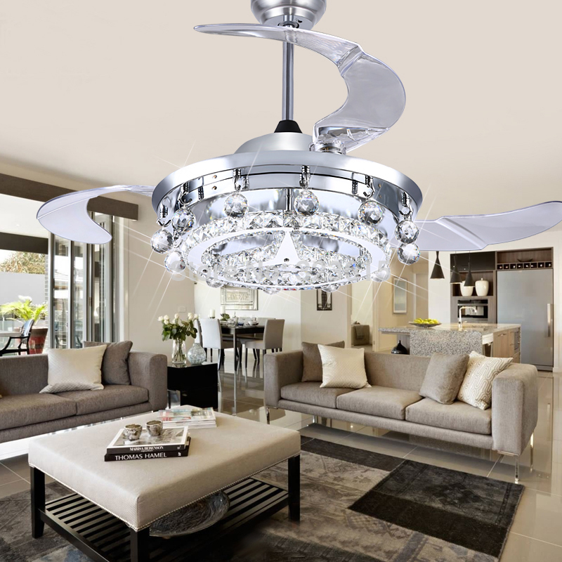 LED Fan Crystal Chandelier Dining Room Living Droplights Modern Wall Remote Control