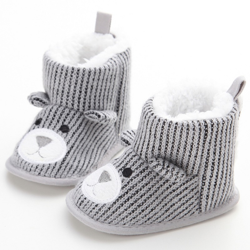 Toddler Winter Warm Boots Newborn Baby Crib Snow Knitting Cute Cartoon Bear Boots