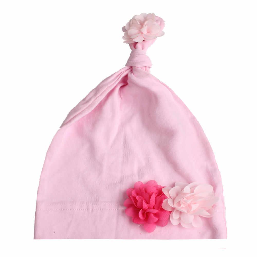Kleine Chiffon Bloem Knoop Hoed Schattige Baby Meisjes Beanie Hat Cap 1 pc