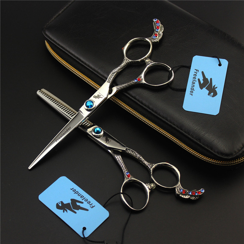 6 INCH Phoenix Series Professional Hairdressing Scissors Retro Silver 6 inch Cutting Thinning Styling Tool Hair Salon Barber professional bang hair clipper trimmer hair styling hairdressing tool bangs cutter scissors flat bang scissors